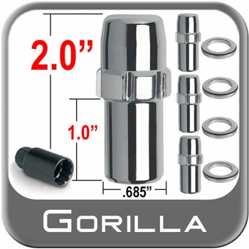 "Gorilla® 1/2"" x 20 Wheel Locks Mag Seat Right Hand Thread Chrome 4 Locks w/Key #74681N"