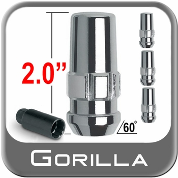 "Gorilla® 1/2"" x 20 Wheel Locks Tapered (60°) Seat Right Hand Thread Chrome 4 Locks w/Key #76681N"