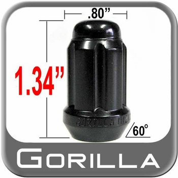 Gorilla® 10mm x 1.25 Lug Nuts Tapered (60°) Seat Right Hand Thread Black Sold Individually #21118BC