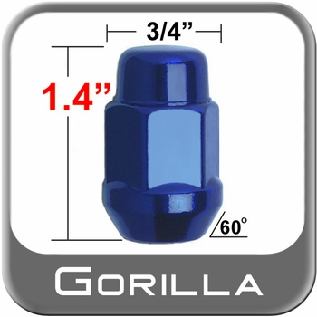Gorilla® 12mm x 1.25 Blue Lug Nuts Tapered (60°) Seat Right Hand Thread Blue Sold Individually #41128BL