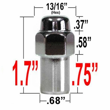 Gorilla® 12mm x 1.25 Chrome Lug Nuts Mag Seat Right Hand Thread Chrome Sold Individually #73128
