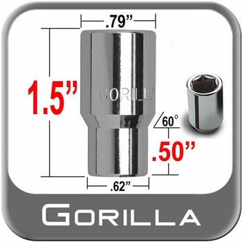 Gorilla® 12mm x 1.25 Hex Socket Lug Nuts Mag E-T (w/60° Taper) Seat Right Hand Thread Chrome Sold Individually #21028