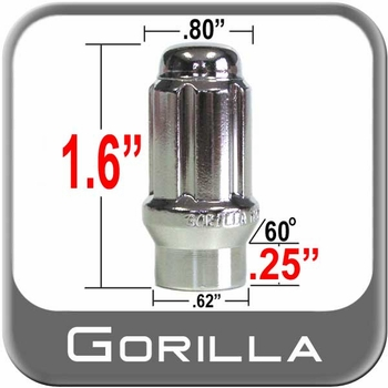 Gorilla® 12mm x 1.25 Lug Nuts Mag E-T (w/60° Taper) Seat Right Hand Thread Chrome Sold Individually #21128ET