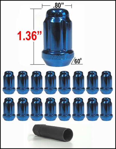 Gorilla® 12mm x 1.25 Lug Nuts Tapered (60°) Seat Right Hand Thread Blue 16 Nuts w/Key #21122BL