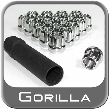 Gorilla® 12mm x 1.25 Lug Nuts Tapered (60°) Seat Right Hand Thread Chrome 20 Nuts w/Key #20023SD