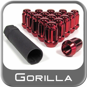 Gorilla® 12mm x 1.25 Lug Nuts Tapered (60°) Seat Right Hand Thread Red 16 Nuts w/Key #21122RD