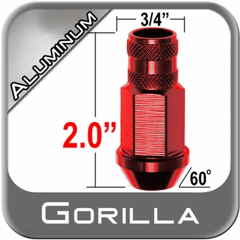 Gorilla® 12mm x 1.25 Red Aluminum Racing Lug Nuts Tapered (60°) Seat Right Hand Thread Red Sold Individually #44028RD