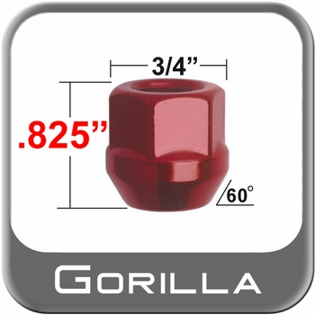 Gorilla® 12mm x 1.25 Red Lug Nuts Tapered (60°) Seat Right Hand Thread Red Sold Individually #40028RD