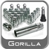 Gorilla® 12mm x 1.25 Small Diameter Wheel Installation Kit Tapered (60°) Seat Right Hand Thread Chrome 4 Locks, 16 Nuts, 4 Valve Stems #21923SD