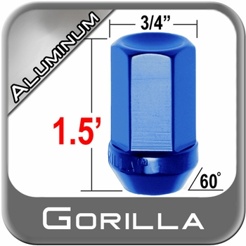 Gorilla® 12mm x 1.5 Blue Aluminum Racing Lug Nuts Tapered (60°) Seat Right Hand Thread Blue Sold Individually #44138BL