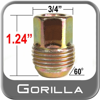 Gorilla® 12mm x 1.5 GM Lug Nuts - Small Tapered (60°) Seat Right Hand Thread Yellow Sold Individually #41138GMS