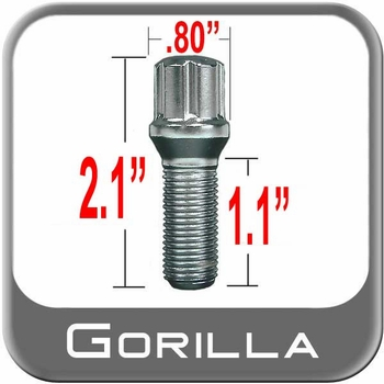 Gorilla® 12mm x 1.5 Lug Bolt Tapered (60°) Seat Right Hand Thread Chrome Sold Individually #17179SD