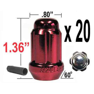 Gorilla® 12mm x 1.5 Lug Nuts Tapered (60°) Seat Right Hand Thread Red 20 Nuts w/Key #21133RD
