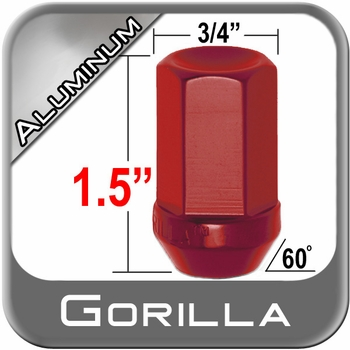 Gorilla® 12mm x 1.5 Red Aluminum Racing Lug Nuts Tapered (60°) Seat Right Hand Thread Red Sold Individually #44138RD