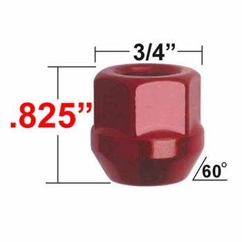 Gorilla® 12mm x 1.5 Red Lug Nuts Tapered (60°) Seat Right Hand Thread Red Sold Individually #40038RD