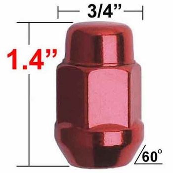 Gorilla® 12mm x 1.5 Red Lug Nuts Tapered (60°) Seat Right Hand Thread Red Sold Individually #41138RD