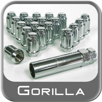 Gorilla® 12mm x 1.5 Small Diameter Lug Nut & Lock Set Tapered (60°) Seat Right Hand Thread Chrome 4 Locks, 16 Nuts #21733SD