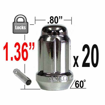 Gorilla® 12mm x 1.5 Wheel Locks Tapered (60°) Seat Right Hand Thread Chrome 20 Locks w/Key #21633SD