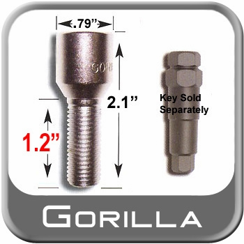 Gorilla® 12mm x 1.5 Wheel Lug Bolt Tapered (60°) Seat Right Hand Thread Chrome Sold Individually #24138