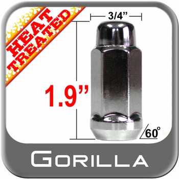 Gorilla® 12mm x 1.75 Chrome Lug Nuts Tapered (60°) Seat Right Hand Thread Chrome Sold Individually #41168XLHT
