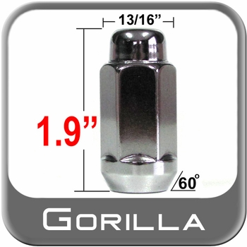 Gorilla® 12mm x 1.75 Chrome Lug Nuts Tapered (60°) Seat Right Hand Thread Chrome Sold Individually #91168XL