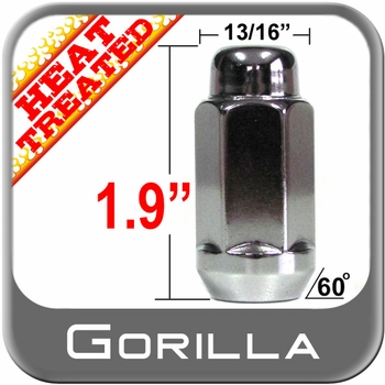 Gorilla® 12mm x 1.75 Chrome Lug Nuts Tapered (60°) Seat Right Hand Thread Chrome Sold Individually #91168XLHT