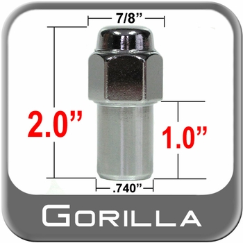 Gorilla® 14mm x 1.5 Chrome Lug Nuts Mag Seat Right Hand Thread Chrome Sold Individually #75148