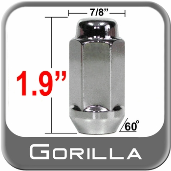Gorilla® 14mm x 1.5 Chrome Lug Nuts Tapered (60°) Seat Right Hand Thread Chrome Sold Individually #76148