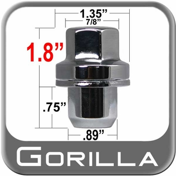 Gorilla® 14mm x 1.5 Range Rover Lug Nut Mag Seat Right Hand Thread Chrome Sold Individually #75148R