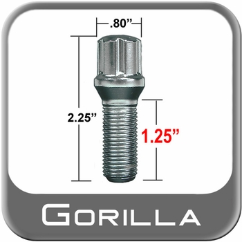 Gorilla® 14mm x 1.5 Wheel Lug Bolt Tapered (60°) Seat Right Hand Thread Chrome Sold Individually #17020SD