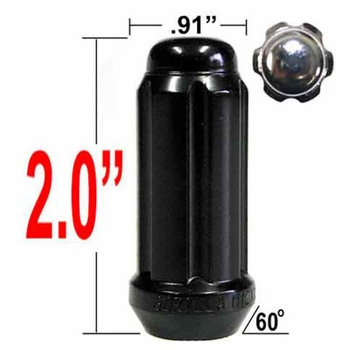 Gorilla® 14mm x 2.0 Lug Nuts Tapered (60°) Seat Right Hand Thread Black Sold Individually #26108BC