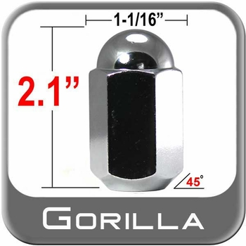 """Gorilla® 5/8"""" x 18 Chrome Duallie Lug Nuts Tapered (45°) Seat Right Hand Thread Chrome Sold Individually #21258"""