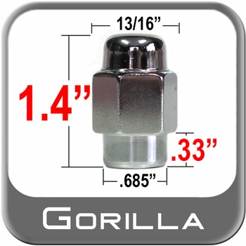 "Gorilla® 7/16"" x 20 Chrome Lug Nuts Mag Seat Right Hand Thread Chrome Sold Individually #72178"