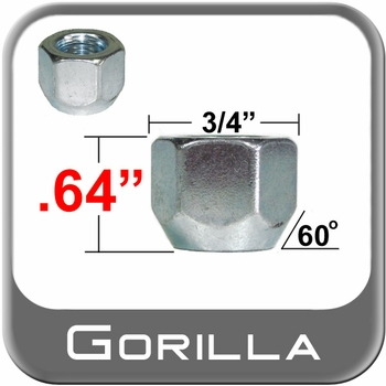 """Gorilla® 7/16"""" x 20 Open End Lug Nuts Tapered (60°) Seat Right Hand Thread Silver Sold Individually #70078S"""