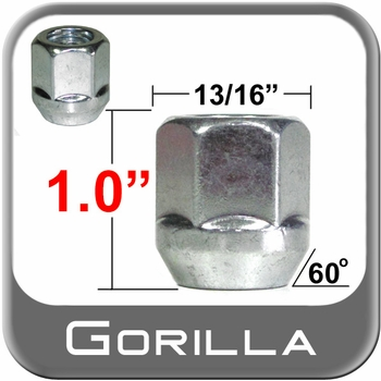 """Gorilla® 7/16"""" x 20 Open End Lug Nuts Tapered (60°) Seat Right Hand Thread Silver Sold Individually #90078"""