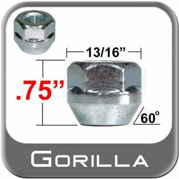 "Gorilla® 7/16"" x 20 Open End Lug Nuts Tapered (60°) Seat Right Hand Thread Silver Sold Individually #90078S"
