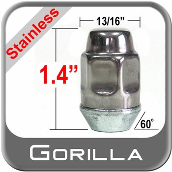 "Gorilla® 7/16"" x 20 Stainless Steel Lug Nuts Tapered (60°) Seat Right Hand Thread Stainless Steel Sold Individually #91178SS"