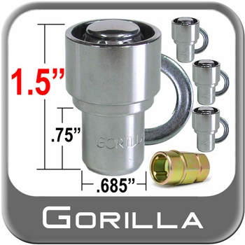 "Gorilla® 7/16"" x 20 Wheel Locks Mag Seat Right Hand Thread Chrome 4 Locks w/Key #63671"