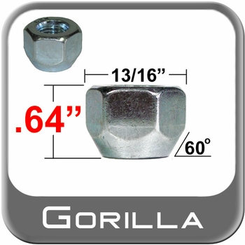 """Gorilla® 7/16"""" x 20 Zinc Plated Lug Nuts Tapered (60°) Seat Right Hand Thread Silver Sold Individually #70078"""