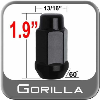 "Gorilla® 9/16"" x 18 Black Lug Nuts Tapered (60°) Seat Right Hand Thread Black Sold Individually #91198XLBC"