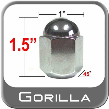 """Gorilla® 9/16"""" x 18 Chrome Duallie Lug Nuts Tapered (45°) Seat Right Hand Thread Chrome Sold Individually #21198"""