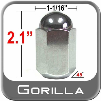 """Gorilla® 9/16"""" x 18 Chrome Duallie Lug Nuts Tapered (45°) Seat Right Hand Thread Chrome Sold Individually #21298"""