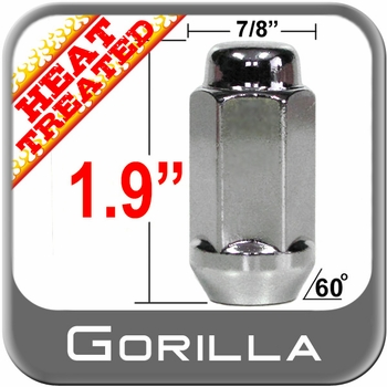 """Gorilla® 9/16"""" x 18 Chrome Lug Nuts Tapered (60°) Seat Left Hand Thread Chrome Sold Individually #76198LHT"""
