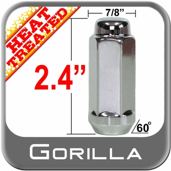 """Gorilla® 9/16"""" x 18 Chrome Lug Nuts Tapered (60°) Seat Right Hand Thread Chrome Sold Individually #76198XLHT"""