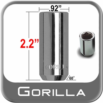 """Gorilla® 9/16"""" x 18 Hex Socket Lug Nuts Tapered (60°) Seat Right Hand Thread Chrome Sold Individually #26098XL"""