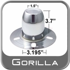 Gorilla® Chrome Wheel Hub Cover Derby Closed w/Emblem Indentation Tapered Tip Sold Individually #HC226
