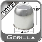 Gorilla® Stainless Wheel Hub Cover Recessed w/Emblem Indentation Cylindrical w/Tapered Tip Sold Individually #HC216SS