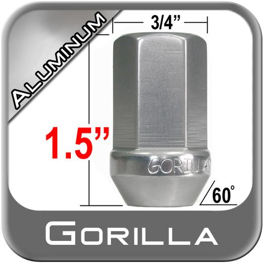 Gorilla® 12mm x 1.5 Silver Aluminum Racing Lug Nuts Tapered (60°) Seat Right Hand Thread Silver Sold Individually #44138AL