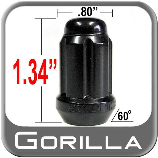 "Gorilla® 3/8"" x 24 Lug Nuts Tapered (60°) Seat Right Hand Thread Black Sold Individually #38248BC"