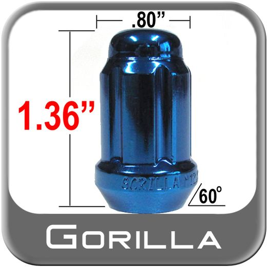 Gorilla® 12mm x 1.25 Lug Nuts Tapered (60°) Seat Right Hand Thread Blue Sold Individually #21128BL